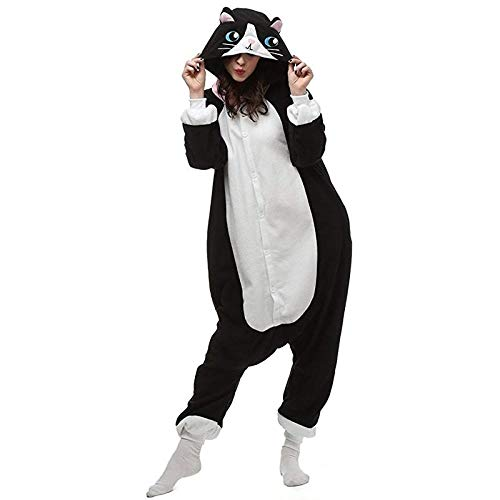 Onesies de Gato Negro para Hombre para Adultos, Disfraz de Cosplay para Mujer, Pijama de una Pieza...