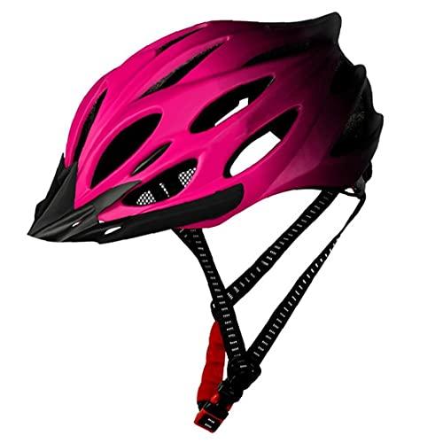 Kacniohen Ciclismo Casco Ligero Casco de la Bici del Casco de la Bicicleta con la luz Trasera Ajustable Hombres Mujeres Rosa