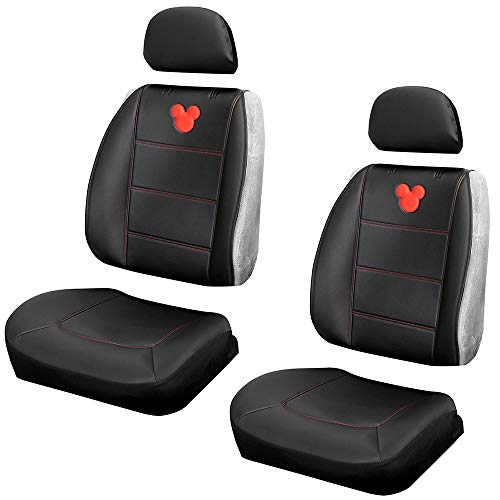 Plasticolor One Pair 008672R01 Seat Covers Mickey Mouse Disney Embrodired Logo Premium 3 Piece Sideless Car Truck or SUV Seatcover with Cargo Pocket
