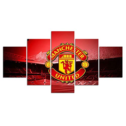 Manchester United Wall Decor Art Paintings 5 Piece Canvas Picture Soccer Flag Artwork Living Room Football Prints Poster Decoration Wooden Framed(60''Wx32''H)