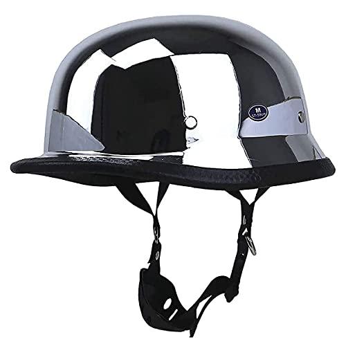 qwert Silver Motorcycle Helmet, Vintage Half Helmet Skull Cap, DOT Approved German Style Half Helmet Motorbike Cruiser Scooter Helmet (55-64cm)