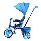 WENJIE Triciclo, Triciclo Inflable for niños Multiusos con toldo, Triciclo for bebé de 2-5 años, 2 Colores, 62.5x40.5x30.5cm (Color : Blue)