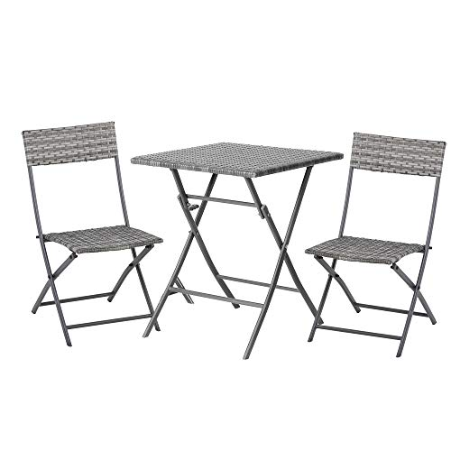 Outsunny Rattan Garden Furniture Bistro Set Outdoor Patio Coffee Set 2 Wicker Weave Folding Chairs and 1 Square Table (Grey)
