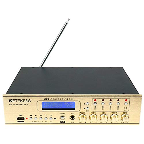 Retekess TR507 Transmitter Long Range Broadcast RDS Power Adjustable Support AUX Input USB for Drive-in Church (Golden)
