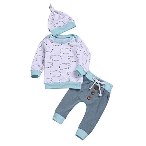Longra Bambin Baby 3-delige set Cartoon Animal High Mouwen Print blouse ronde hals bovendeel + knoop lange broek + warme babykleding unisex outfit