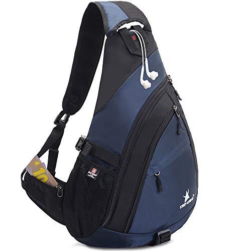 Sling Backpack Men Women | Sling Bag Waterproof Large Capacity 14' Laptop | Chest Bag Shoulder Crossbody Bag Triangle Backpack Outdoor Travelling Cycling Hiking Running Blue