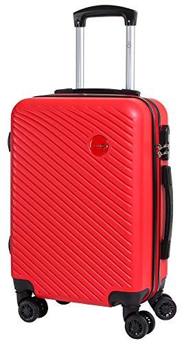 CABIN GO 5508 Valigia Trolley ABS, bagaglio a mano 55x37x20, Valigia rigida, guscio duro e antigraffio con 8 ruote, Ideale a bordo di Ryanair, Alitalia, Air Italy, easyJet, Lufthansa ROSSO