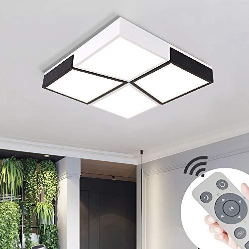 48W LED plafonnier mince carré Lampe de plafond moderne dimmable applicable à la chambre la cuisine le salon le balcon et le couloir (dimmable 3000-6500K)