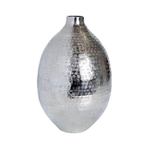 Butlers Indira Vase, 27 cm - Orientalische Blumenvase aus Aluminium, gehämmert - Gefäß in Silber - Deko-Artikel