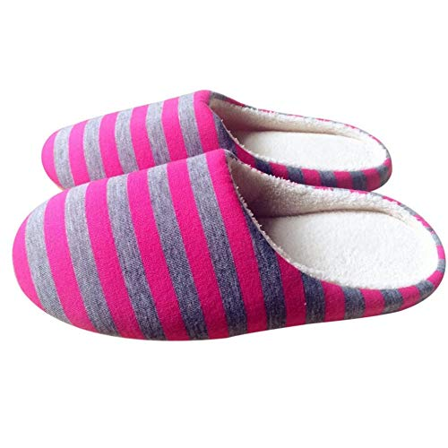 #N/V Invierno Cálido Suave Felpa Interior Hogar Piso Zapatillas Mujeres/Hombres Zapatos De Rayas De Tela Universal Pareja Amantes Antideslizante Zapatillas