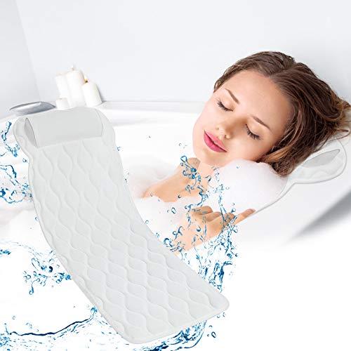SAWAKE Tappetino per Vasca da Bagno con Cuscino, 3D Air Mesh Cuscino di Vasca da Bagno con 16 Ventose Antiscivolo, Materasso Vasca da Bagno Spa 3D per Tutto Il Corpo per Supporto Testa e Schiena