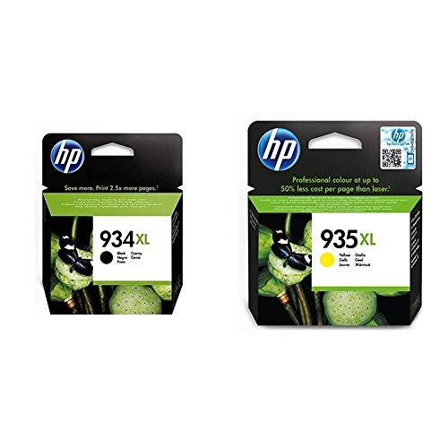 HP C2P23AE 934 Cartucho de Tinta Original de alto rendimiento, 1 unidad, negro + 935XL C2P26AE, Amarillo, Cartucho de Tinta de Alta Capacidad Original