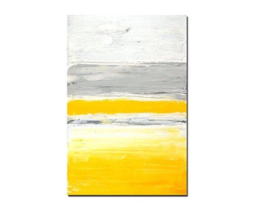 Paul Sinus Art 120x80cm - WANDBILD Malerei Farben Kunstwerk grau/gelb abstrakt - Leinwandbild auf Keilrahmen modern stilvoll - Bilder und Dekoration