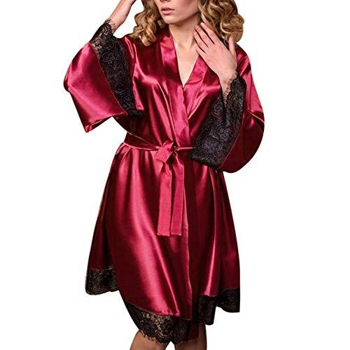 Damen Morgenmäntel Kimono Bademantel Satin Sexy Nachthemd Maxi Lang Nachtwäsche Schlafanzüge V-Ausschnitt Morgenmantel Braut Robe Hochzeits Pyjama Unterwäsche Wein 2XL