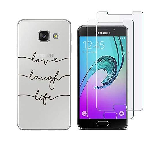 Reshias Funda Samsung Galaxy A3 2016, Cárcasa Silicona 3D Transparente Gel TPU Protector Bumper Case Cover Fundas para Movil Samsung Galaxy A3 2016 A310 con (2 Pack) Cristal Templado