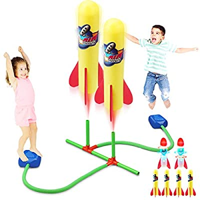 Duckura Dueling Rocket Launcher for Kids, Soars Up to 100 Feet, 4 Foam and 2 LED Rockets with 2 Foot Launch Pads, Outdoor Summer Toys Gifts for Boys Girls 3 4 5 6 Years Old and Up