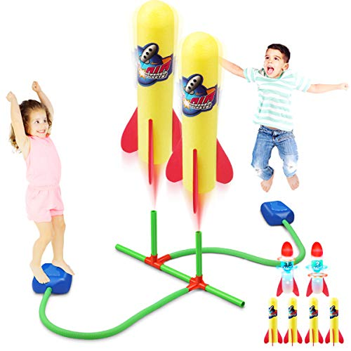 Duckura Dueling Rocket Launcher Toy for Kids, with 2 LED and 4 Foam Rockets, Soars Up to 100 Feet, Outdoor Backyard Games Activities, Birthday Gifts Toys for Boys Girls Toddlers Age 2 3 4 5+