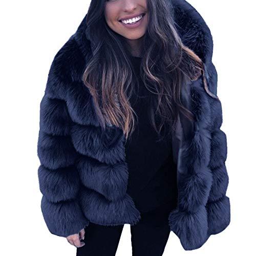 LEEDY - Abrigo y Chaqueta para Mujer con Capucha de Piel sin