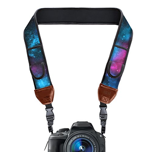 USA Gear Digital Camera Neck Strap with Neoprene Design, Accessory Pockets...