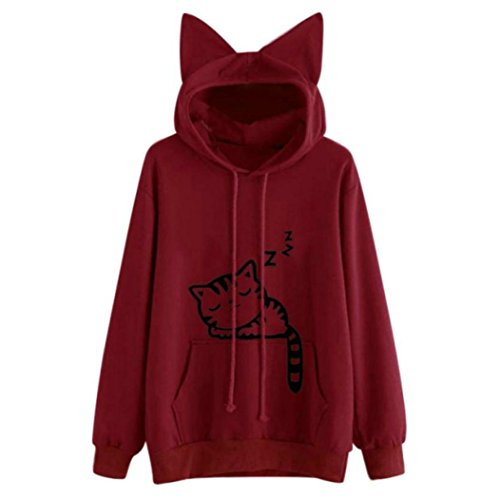 AMSKY Women Teen Girls Cute Cat Ear Animal Print Crop Sweatshirt Junior Pullover Hoodie Top Blouse Pockets (M, Red#02)