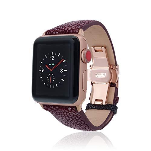 Firjewels Apple Watch 42mm 38mm pelle di razza iWatch cinghia sostituzione fascia con chiusura a farfalla per Apple Watch Series 3Series 2Series