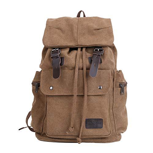 Eshow Men's Backpack Canvas Casual Unisex Rucksack Satchel Hiking Backpack Travel Outdoor Shoulder Bag for Women