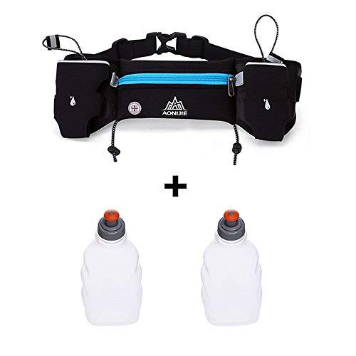 AONIJIE Cinturón reflectante para hidratación, correr, senderismo, para hombres y mujeres, riñonera ajustable para correr, cinturón con 2 botellas de agua de 250 ml, azul