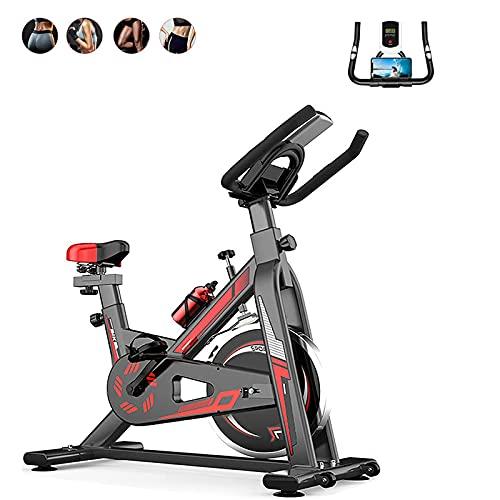 Smart Spin Bike con resistencia ajustable y botella de agua-ultra silencioso con soporte para teléfono/tableta-bicicleta de entrenamiento interior con pantalla que muestra el estado de ciclismo,