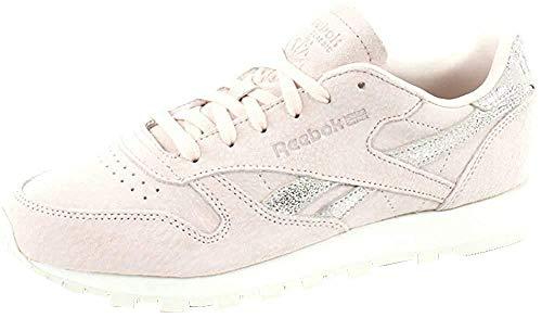 Reebok Damen Classic Leather Shimmer Gymnastikschuhe, Pink (Pale Pinkmatte Silverchalk), 40.5 EU