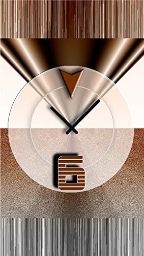 DIXTIME Abstrakt Braun Designer Wanduhr Modernes Wanduhren Design Leise Kein Ticken 3D-0441