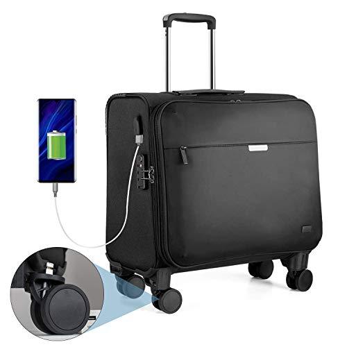 Hanke Business Koffer 18 Zoll Laptop Koffer mit Austauschbare Rollen TSA-Zollschloss USB-Ladeanschluss Laptopfach Wasserabweisend Business Trolley für Dienstreise Büro Geschenk