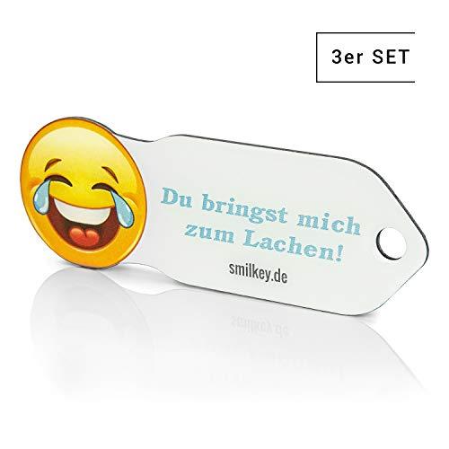 Du bringst mich zum Lachen' Einkaufswagenlöser 3er Set Smilkey, Schlüsselanhänger mit Einkaufschip & Schlüsselfinder, inkl. Registriercode für Schlüsselfundservice, Einkaufswagenchip