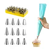 Sibytech 12 Packs Piping Nozzles and Silicone Icing Piping Cream Pastry Bag Set for Cake Decorating, Silicone Piping Bags and 304 Stainless Steel Nozzles, Pastry Tool, Gift Box