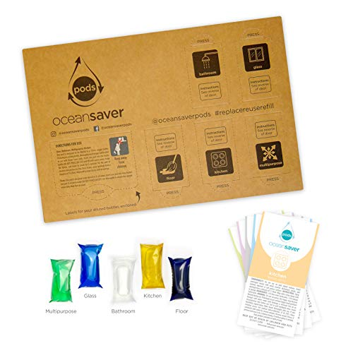5pk PODS by Ocean Saver | Refills and Reuses 5 x 750ml Bottles of Floor Cleaner, Multi Purpose Cleaner, Kitchen Cleaner, Glass Cleaner and Bathroom Cleaner