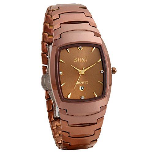 JewelryWe Herren Partner Armbanduhr Analog Quarz Kalender Wolframcarbid Band Paar Uhren mit Rechteckigem Zifferblatt, Kaffeegold