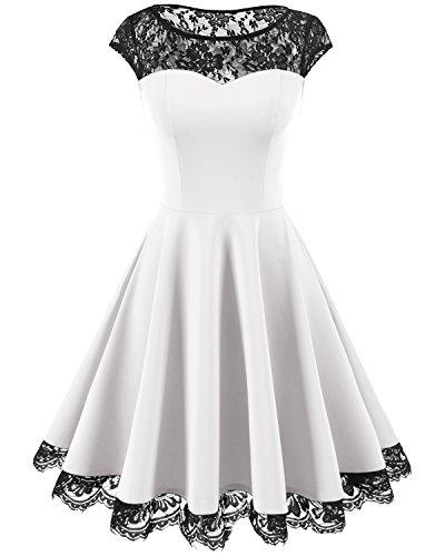 HomRain Damen 1950er Elegant Spitzenkleid Rundhals Knielang festlich Cocktail Abendkleid White 2XL