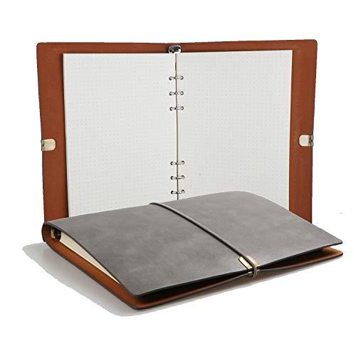 Langtor A5 Lederbinder PU Journal Writing Notizbuch Tagebuch Austauschbares Papier, feines weiches PU Leder + Metallbinder + Spitze + Qualitätspapier - 100 g/m², 160 Seiten (Grau)