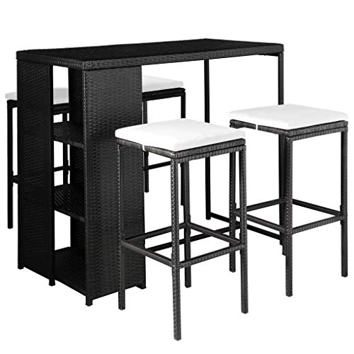 vidaXL Garden Bar 9 Pieces Poly rattan garden furniture seating set multiple selections. Black