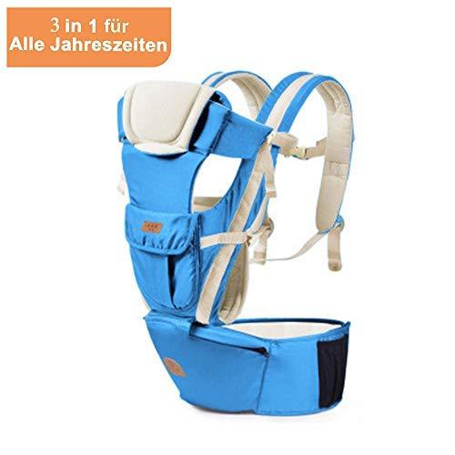 Meinkind Babytrage/Bauchtrage/Rückentrage/Baby Carrier mit Kapuze für 3.5-15kg Kleinkind Kindertrage für 2 Tragepositionen Ergonomische Baby Trage für alle Jahreszeiten (Hellgrau)