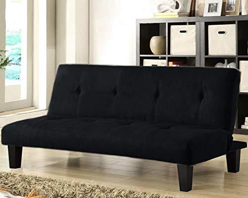 Gstore Divano Letto RECLINABILE Moderno - Design - Divano Letto Solido con Imbottitura SPESSORATA (Nero) Misure Chiuso: 164X58 CM Letto Aperto 164X75X36 CM JS-302