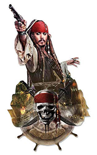 Star Cutouts Ltd Wall Mounted Cardboard Cut Out Pappaufsteller Captain, Wandmontage, Pappe, Jack Sparrow Wand, 100 x 5 x 100 cm