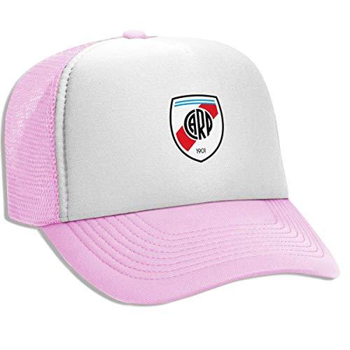 Hiusn Unisex Adult Trucker Hat River Plate FC Adjustable Mesh Cap Lightweight Breathable Soft Baseball Cap Pink