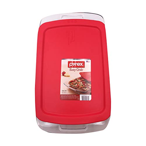 PYREX - Easy Grab with Lid Oblong Baking Dish Large Handles 9' x 13' - 3 Quart