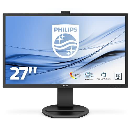Philips 271B8QJKEB Monitor 27' LED IPS FHD, Webcam e Microfono Incorporati, 5ms, HDMI, Display Port, DVI, VGA, Hub USB, Audio Integrato, Ergonomia Totale, VESA, Flicker Free, Low Blue, Nero