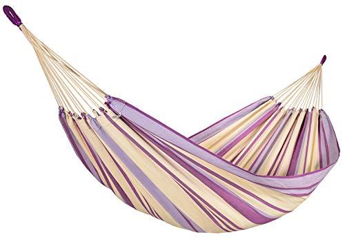 Amalyssa - Hamac Brésilien : Provence Lavande - Pur Coton - Violet, Mauve et Ecru - Toile Résistante - Confort & Solidité - Séchage Rapide - Lavable 30° - Fabrication Artisanale