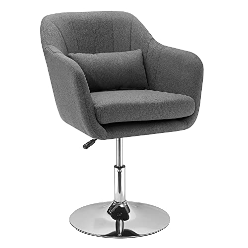 HOMCOM Swivel Accent Chair for Living Room Contemporary Vanity Armchair with Adjustable Height Thick Cushion Lumbar Support Armrest for Bedroom Office Dark Grey