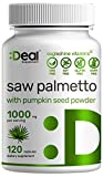 Saw Palmetto Supplement 1000mg with Pumpkin Seed, 120 Capsules | Promotes Prostate Health | DHT Blocker | Hair Growth Vitamins, Maintain Normal Urinary Frequency