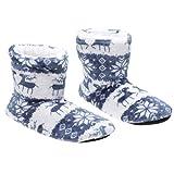 LIOOBO Weihnachten Hirsch Muster Stiefel Socke kalte Koralle Vlies Druck Schutz Wamer Schuhe für zu Hause Erwachsene (blau 27cm 39-41 Größe)