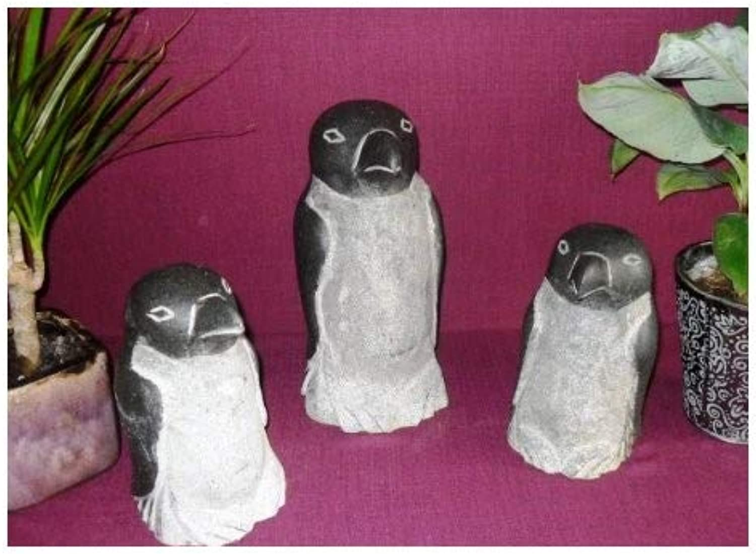 Penguin Family Made of Genuine Natural Brick 2 x 20 cm and 1 x 30 cm High – Penguin