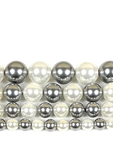 Cuentas de perlas blancas y grises naturales redondas sueltas espaciadoras para hacer joyas DIY pulsera colgante 15 pulgadas 6/8/10/12 mm gris blanco 8mm aproximadamente 46 cuentas